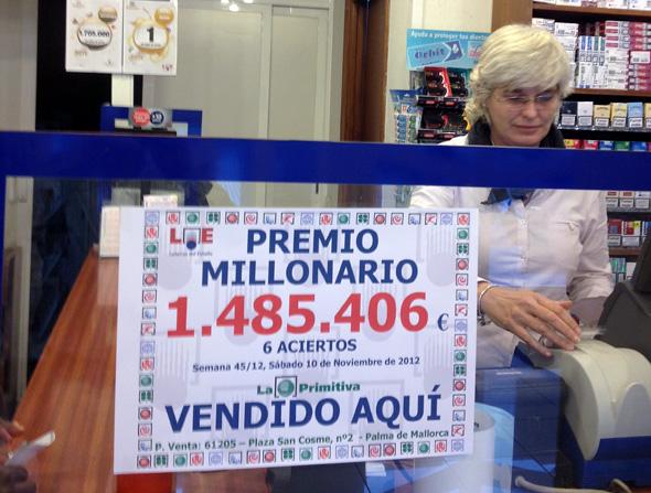 NUESTRO COMPAÑERO JACINTO CORCUERA, DE PALMA DE MALLORCA, DA UN PREMIO DE CASI UN MILLÓN Y MEDIO DE EUROS EN LA PRIMITIVA.