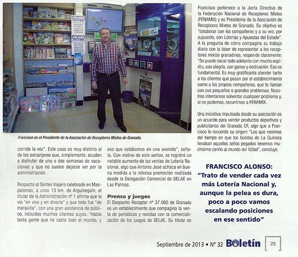 NUESTRO COMPAÑERO ORLANDO MAESTRO, PRESIDENTE DE LA ASOCIACIÓN DE LA RIOJA, DA UN PREMIO DEL PLENO AL 15 EN LA QUINELA