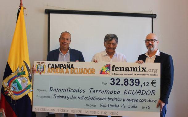 FENAMIX ENTREGA A ECUADOR CASI 33.000 € RECAUDADOS DURANTE LA CAMPAÑA SOLIDARIA QUE ACTIVÓ EN LOS MESES DE ABRIL Y MAYO